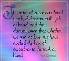 The price of success is....