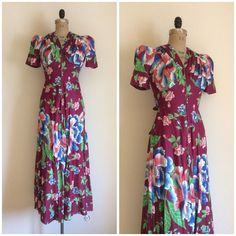 Reserved // 1930s 1940s Floral House Dress by CreatedAndCollected