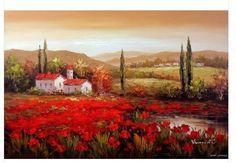 Toscana italiana Sunset Country Home Red Poppies 24 X 36 óleo sobre tela pintura