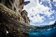Sao Miguel, Portugal  Anna Bader of Germany dives from the 21 metre platform on Islet Franca do Campo, during the second stop of Red Bull Cliff Diving World Series in the Azores Photograph: Samo Vidic/Red Bull/via Getty Images