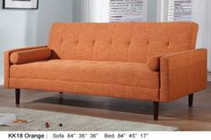 AH18 Orange Fabric retro-style sofabed by At Home USA : Sleepers, Sofa Beds at comfyco.com furniture store