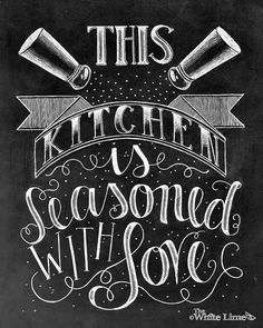 ♥ This Kitchen Is Seasoned With Love ♥  ♥ L I S T I N G ♥ Each image is originally hand drawn with chalk and converted digitally. Chalkboard prints