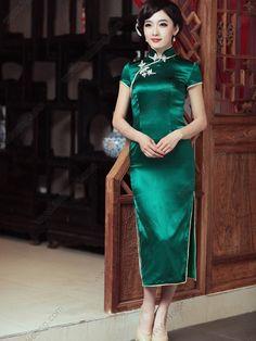 Women's Silk Green Tea-length Cheongsam Dress - USD $ 279.00