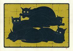 Five Reclining Black Cats  -  Japanese woodblock print by Tadashige Nishida (Born in Kagoshima, 1942)