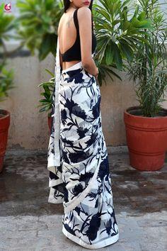 Blue & White Printed Crepe Satin Taping Saree - Saree Designs by Colorauction - Jupe Saree Jacket Designs, Choli Blouse Design, Sari Design, Sari Blouse Designs, Fancy Blouse Designs, Floral Print Sarees, Printed Sarees, Satin Saree, Crepe Saree