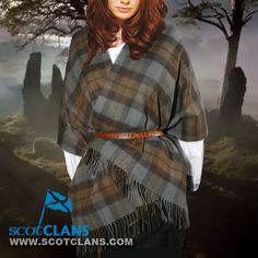 "Outlander Lambswool Tartan Stole | Official Outlander Tartan Clothing Measures 30"" x 72"" not including the fringe"