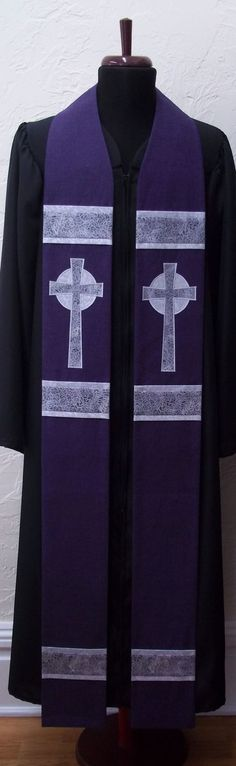 Purple Clergy Stole For Advent -- Silver Celtic Cross -- MADE TO ORDER in Your Custom Length. $228.00, via Etsy.