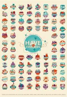 """poster by Federica Bonfanti, titled """"Have You Ever Been To?""""—an illustrated print that lets you keep count of the 83 must see places before you die"""
