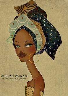 African Woman V vintage Edition - The Art of Raul Guerra- gorgeous expression Art And Illustration, Illustrations, African American Art, African Women, Black Women Art, Black Art, Tableaux Vivants, Wal Art, Art Africain