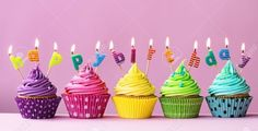 Happy birthday cupcakes by RuthBlack. Cupcakes with candles spelling the words ¡°happy birthday¡± Best Happy Birthday Message, Birthday Message For Friend, Pink Happy Birthday, Happy Birthday Cupcakes, Happy Birthday Images, Free Birthday Food, Birthday Email, Birthday Rewards, It's Your Birthday