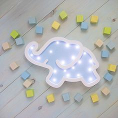 Wooden lamp Elephant nightlight toy babyshower night light