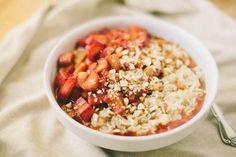 vanilla bean rhubarb oatmeal-  Looking forward to breakfast this week