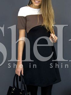 Vestido color combinado holgado-(Sheinside)