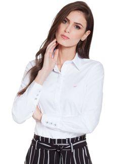 709d619f6 Camisa Maquinetada Principessa Diane Branca com Botões de Cristal
