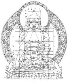 Sacred geometry is all around us, in nature, in art and architecture, in music. Divine proportion and patterns. The Buddha Śākyamuni (Wangdrak) with structural grid (tigse) (Jackson, David & Janice. 1984. Tibetan thangka painting: methods and materials. Snow Lion Publications, Ithaca, NY):