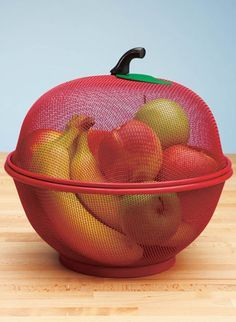 Apple-Shaped Fruit Basket, Mesh Fruit Holder, Red - Best Picture For kitchen luxury For Your Taste You are looking for something, and it is going to - Cool Kitchen Gadgets, Home Gadgets, New Gadgets, Gadgets And Gizmos, Kitchen Items, Kitchen Utensils, Cool Kitchens, Kitchen Decor, Kitchen Design