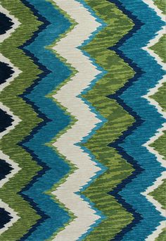 Blue and Green Chevron Rug