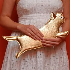 Gold Persian Cat Purse