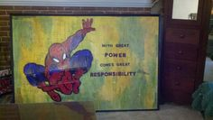 Spiderman -Spidey -- upcycled from an office white board, old calculus homework, and cardboard boxes Great idea ~ msut try! Cardboard Box Crafts, Great Power, Calculus, Spiderman, Art Pieces, Old Things, Homework, Mixed Media, How To Make