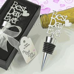"""Buy FashionCraft Metal """"Best Day Ever"""" with Heart Bottle Stopper and other party favors and personalized gifts. Homemade Wedding Favors, Wedding Favors Cheap, Wedding Koozies, Wedding Gifts, Happy Valentines Day, Valentine Gifts, Engagement Favors, Wine Bottle Stoppers, Bottle Opener"""