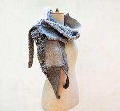 Wrap warm Hand knited shawl shrug blue, beige, tan, aquamarine unique OOAK, soft felted wool, geometrical clotch, patchwork winter scarf 6 by ZOJKAshop on Etsy
