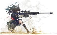 Girl With Gun by ~DeathOrToy on deviantART          HELL YEAH, .50BMG