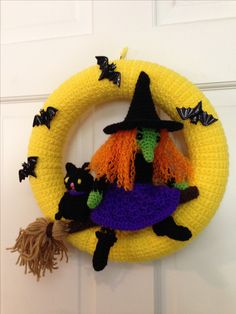 Witch Halloween Wreath made from pattern by Needle Knows by Jennifer Lacek