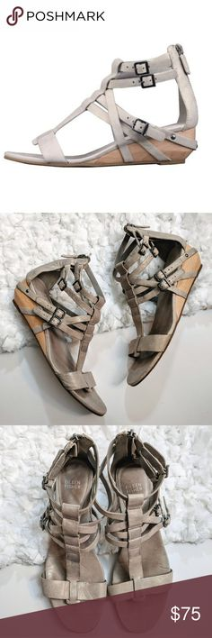 """Eileen Fisher Echo Gladiator Wedges Strappy leather gladiator wedge sandals in sand. Buckle detail. Stud detail on heel. Back zipper. Padded footbed and rubber sole. Shows normal signs of wear. There is some wear to the back heels as shown in photos. 1.5"""" wedge. Size 10. Eileen Fisher Shoes Sandals"""
