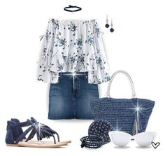 """""""~'Kindra'~ Floral Peplum Off Shoulder Blouse ~"""" by justwanderingon ❤ liked on Polyvore featuring Sun N' Sand, 7 For All Mankind, Patricia Nash, Elizabeth and James, Catherine Canino Jewelry, Carolee, DANNIJO, sandals, denimskirt and FloralTop"""