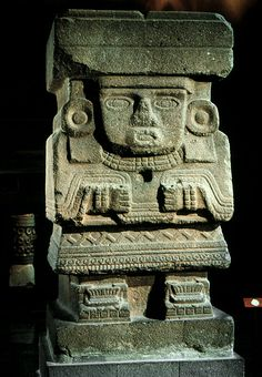 "Water Goddess; from Teotihuacán (Mexico) in the Pyramid of the Moon; c. before 600 AD; Basalt; Height 10'6""; Aztec (Mexica; Triple Alliance); Believed to be a relief sculpture of the water goddess, Chalchiuhtlicue. It is a caryatid figure that held a central wooden roof beam."