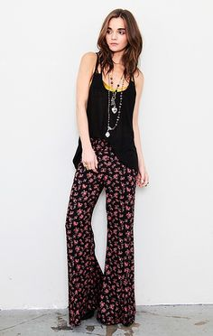 477646e712737 Blu Moon Bell Bottom Pant in Purple (black pink floral)
