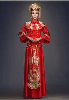 robe de mariage rouge longue chinoise