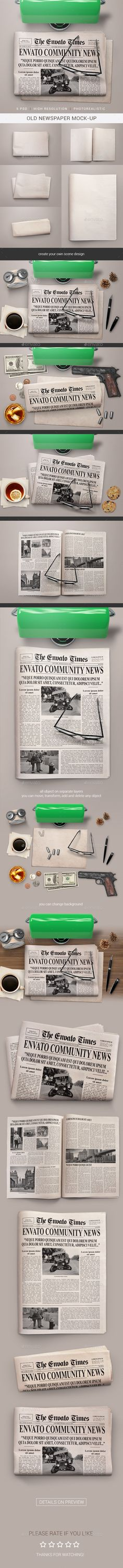 Old #Newspaper #Mock-Up - Miscellaneous Print Download here:  https://graphicriver.net/item/old-newspaper-mockup/19389613?ref=alena994