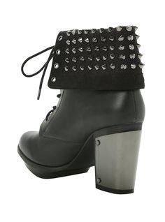 Studded Combat Boot Heel, BLACK