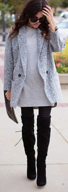 Long Boots With Blazer and Shades
