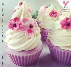 """Sugar Flower"" cup cake soap naturale vegetale : Cura, benessere di mimi-soapcandles"