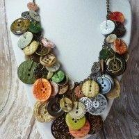 bisuteria con botones - collar con botones variados