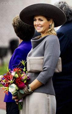 "Dutch Queen Maxima- this is how you ""do"" a hat. Unbelievable outfit. Love the color and style. Who is this designer?"