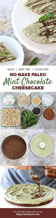 A cacao crust and real mint flavor makes this creamy, no-bake mint chocolate cheesecake a dessert favorite. Get the recipe here: http://paleo.co/mintchoccheesecake