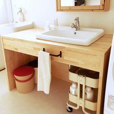 saha0718さんの、洗面所,洗面台,IKEA,IKEAワゴン,IKEAの鏡,スロップシンク,ナチュラル,バス/トイレ,のお部屋写真