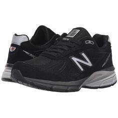 New Balance W990v4 (Black/Silver) Women's Running Shoes (€155) ❤ liked on Polyvore featuring shoes, athletic shoes, breathable shoes, laced shoes, wrap shoes, fleece-lined shoes and lace up shoes