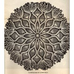 Ruffled Large Pineapple Doily Crochet Pattern  Actually this crocheted beauty has instructions for two sizes - a large at approx. 22 inches and a small at 19 inches.