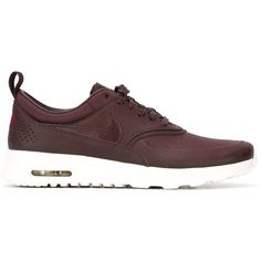 Mahogany faux leather 'Air Max Thea' sneakers from Nike featuring a round toe, a lace-up front fastening, a logo patch at the tongue, a pull tab at the rear, a…