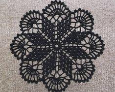 D-10 (4) Black Crochet Lace DOILY Homedecor Crochet Original Crocheted Doily Wedding Doilies Black Lace Doilies Made by Zhital