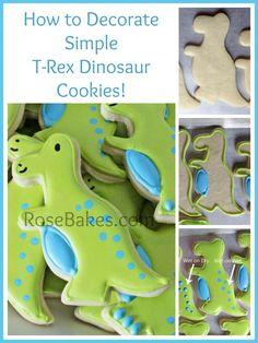 How to Decorate Simple T-Rex Dinosaur Cookies - Rose Bakes #cookies #tutorial #dinosaur