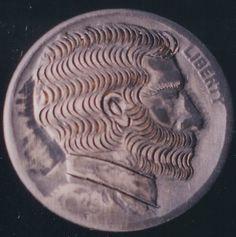 John Dorusa - Hatless Bearded Man/Raccoon (Obverse) 2 Sided Carving Hobo Nickel, Buffalo, Carving, Wood Carvings, Sculptures, Printmaking, Water Buffalo, Wood Carving