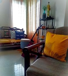 Upholstered ottomans and other furniture in gorgeous Indian fabrics: Sihasn Decorating Blogs, Interior Decorating, Best Interior Design Blogs, Indian Fabric, Upholstered Ottoman, Accent Chairs, Ottomans, Fabrics, Minimalist