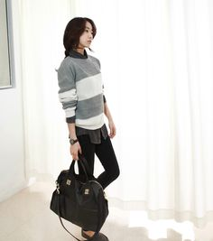 [reflower] 왕단가라니트 / casual bold stripe knit : 리플라워