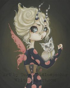 MEOWL gothic cat owl with fairy fantasy art print big by WhiteStag, $7.00