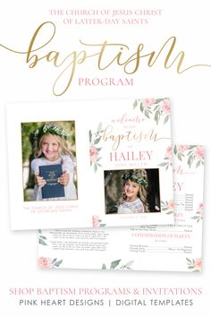 Save time preparing for your daughter's baptism with this elegant floral baptism program! Your information and photos can be easily added by you! No software needed, download and print today! A matching invitation is also available!  Click through to demo the program and invitation now!  #baptismprogam #LDSbaptism #girlbaptism #LDSprintable #ldsbaptismprogram #LDSbaptisminvitation #printableprogram #editablebaptism #girlbaptismprogram Baptism Announcement, Birth Announcement Template, Lds Baptism Program, Vintage Baptism, Baptism Invitations Girl, Baptism Decorations, Photoshop, Boy Baptism, Program Template
